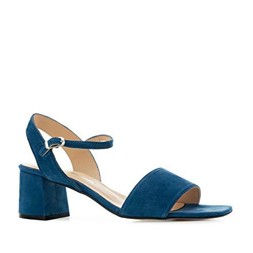 Andres Machado - Sandalen/Sandaletten mit Absatz für Damen/Mädchen - Salome – aus Leder mit Blockabsatz - Made in Spain - Blau, EU 44