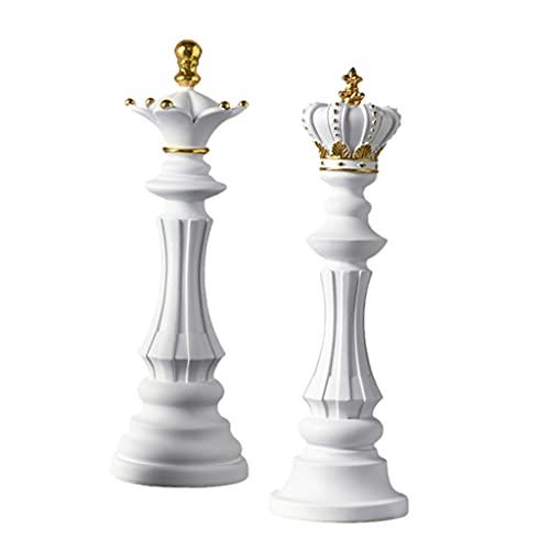 MagiDeal 2 Piezas Piezas de Ajedrez Estatua Escultura Artesanía Decoración del Hogar Decoración de Reina Rey