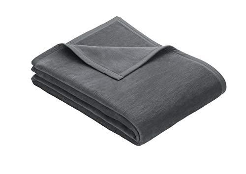 Ibena Porto Kuscheldecke 150x200 cm - Wolldecke dunkelgrau einfarbig, pflegeleichte Baumwollmischung, kuschelig weich und angenehm warm