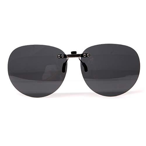 Embryform Metall Rahmen Felge polarisierte Linse Clip auf Sonnenbrille,Unisex Erwachsene Polarisierende Sonnenbrillen-Clip -1 Sonnenbrillen-Große Sonnenbrillen-Clip für Brillenträger