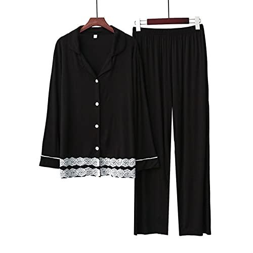ZXZXZX houxinshangmao 2 Piezas Pijamas Traje de Manga Larga de Las Mujeres Sueltas, Transpirables y Suaves para Mujeres de Gran tamaño Coreano en el hogar cómodo (Color : Black 2, Size : S)