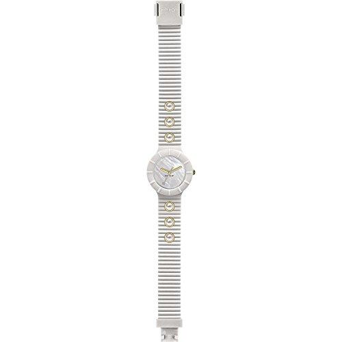 Orologio HIP HOP donna PEARLS quadrante bianco e cinturino in silicone, glam bianco, movimento SOLO TEMPO - 3H QUARZO