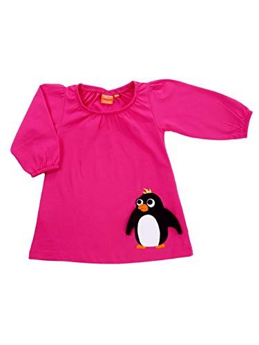 Lipfish Robe à Manches Longues avec des Animaux appliqués, Dessin Suédois, 100% Coton, Cerise Penguin, 4 Ans.