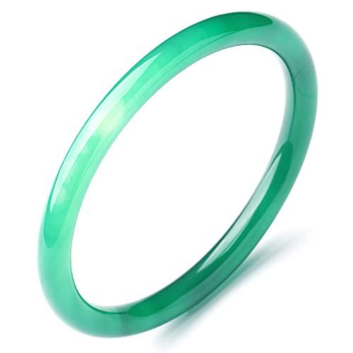 JINGJIN Natürlicher Grüner Jade-Armreif,Jade Armreif für Frauen Echt,Handgemacht,Chinesische Art Runden Armreif,54-56mm