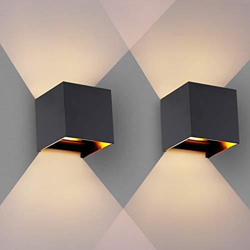 OOWOLF Wandleuchte Innen, [2 Stücke] Wandleuchte Innen Wandlampe 3.8W IP65 Wasserdicht mit Austauschbarer G9 Glühbirne,3000K Warmweiße LED Wandleuchte Innen für Wohnzimmer, Balkon, etc, Schwarz
