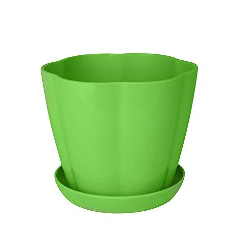 Gogogo Pots de Fleurs, Pots en Résine Semis Chambre D'enfant avec Palette enpour la Viande des Plantes et Autres Plantes de Petite Taille,9 * 8.3 cm (Vert)