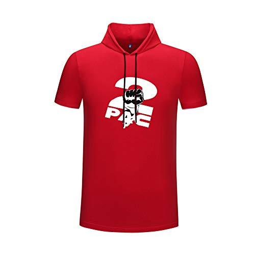 Preisvergleich Produktbild 2pac T-Shirt Herr-Art-Kategorie DIY T-Shirt Sommer-Farbe,  die eisiges Baumwollkurzhülse T-Shirt mit Kapuze zusammenbringt Unisex (Color : Red10,  Size : XL)