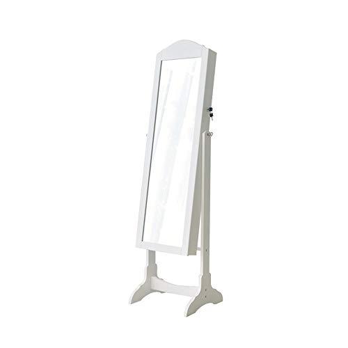 BESTSOON-DC Gabinete de la joyería Gabinete Organizador Almacenamiento Espejo Stand con Ganchos Joyería de pie con Cerradura para Almacenamiento de Joyas (Color : Blanco, tamaño : Un tamaño)