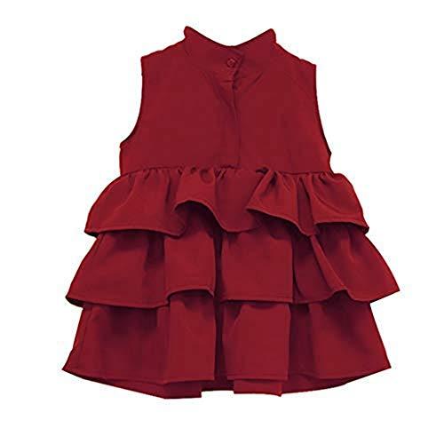 Houfung Mädchen-Partykleid, ärmellos, Baumwolle, Grün Gr. 116, rose