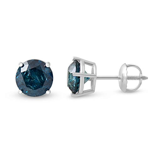 Femme Luxe 2.00 Carat Blue Diamond Stud Earrings 14K White Gold for Men and Women 4 Prong Basket Set with Screw Back, Natural and Conflict Free Diamonds