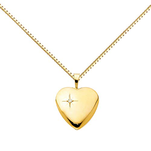 14K Yellow Gold Valentine Diamond-Accent Heart Locket Pendant with 0.8mm Yellow Box Chain Necklace (Length - 18 in)