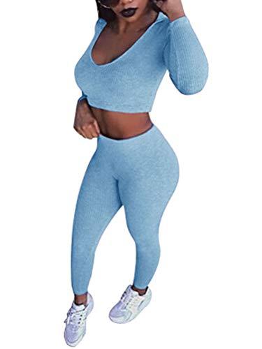 Tomwell Damen 2 Stücke Set Outfit Sport Yoga Fitness Bodycon Slim Fit Jogginganzug Sportswear Casual U-Ausschnitt Langarmhemd Jumpsuit Crop Top + Leggings Blau 38