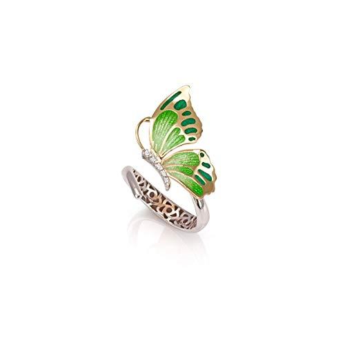Anello Farfalla contrariè in argento 925, rodiato e dorato, con smalto eseguito a mano verde e cubic zirconia