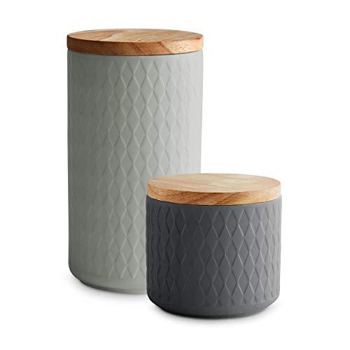 Keramik Vorratsdosen 2-tlg. Set mit Holzdeckel Grau, Luftdichter Kautschukholz-Deckel, Aufbewahrungsdosen, Frischhaltedosen