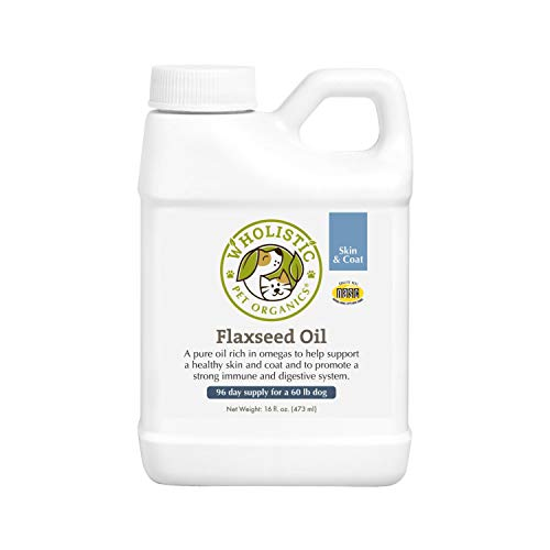 Wholistic Pet Organics Flaxseed Oil: Organic Flaxseed Oil for Dogs - Flax Oil Dog Supplement with Antioxidant Rich Rosemary and Omega 3, 6 Fatty Acids for Cardio, Immune, Skin and Coat Health - 16 Oz