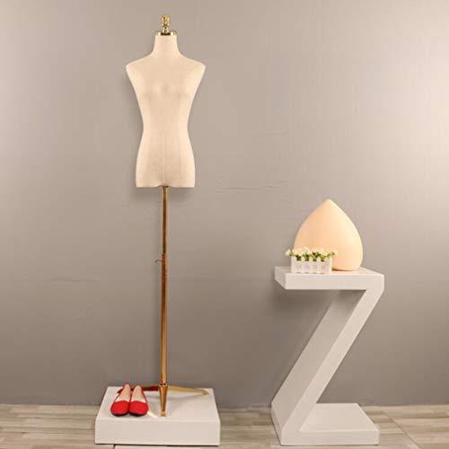 SZ JIAOJIAO Weiblicher Schneider Dummy Weibliches Mannequin Torso mit Metall Glod Stativ Basis für Kleidung Brautkleid Schmuck-Anzeigen,#1,S