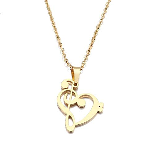 GIOAMH Stainless Steel Necklace Music Symbol Heart of Treble and Bass Clefs Infinity Love Charm Pendant Necklaces Unisex Jewelry,Gold Color