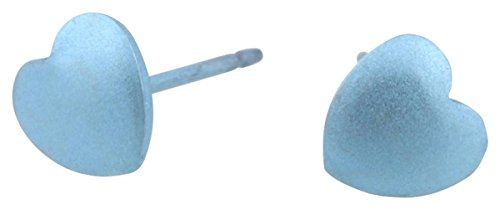 Ti2 Titanium Womens Geometric Heart Stud Earrings - Sky Blue