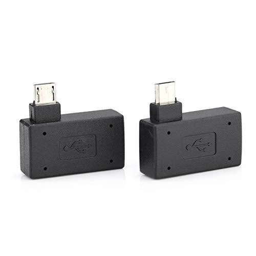 PUSOKEI Adaptador Micro OTG, 2 uds USB2.0 Adaptador Micro OTG Hembra a Macho, Puerto de Fuente de alimentación 90 Grados a la Izquierda y 90 en ángulo Recto