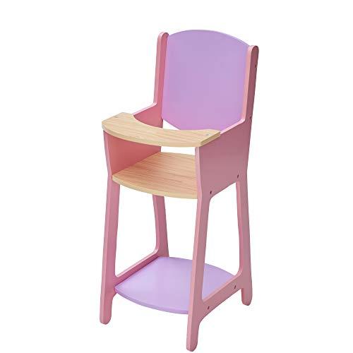 Olivia's Little World Chaise Haute en Bois de poupée Poupon de 40 cm Jouet Enfant Rose Violet TD-12878A