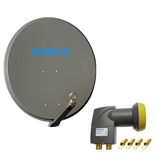 Humax 4 Teilnehmer Set - Qualitäts Alu-Satelliten-Komplettanlage 75cm Spiegel/Schüssel Anthrazit + Humax Quad LNB - für 4 Receiver/TV [DVB-S2, 4K, 3D]