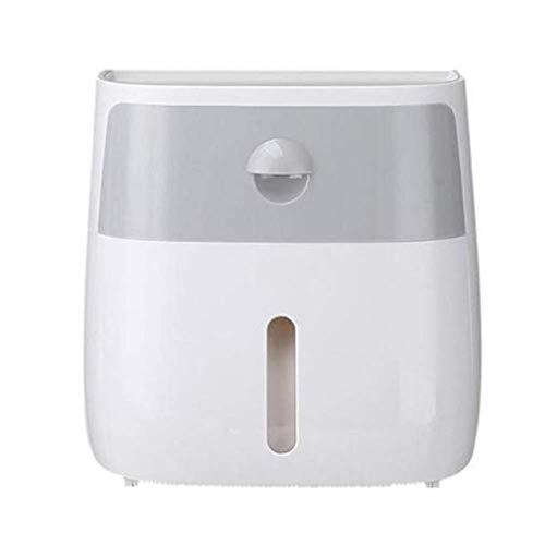 Wandmontage Wasserdicht Tissue Box, Kunststoff-Double-Layer-Dispenser Keine Spur Aufkleber, transparente Fenstergestaltung, für Bad Toilettenpapierhalter