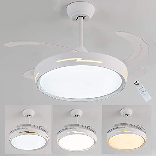 Ventilador de techo con luz LED,Ventilador techo con luz, 54W motor DC,3 tonalidades, aspas retráctiles, 6 velocidades, control remoto, temporizador, bajo consumo,ventilador techo con luz silencios