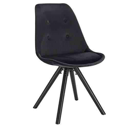 WOLTU® BH196sz-1 1Stück Esszimmerstuhl, Sitzfläche aus Samt, Design Stuhl, Küchenstuhl, Holzgestell, Schwarz