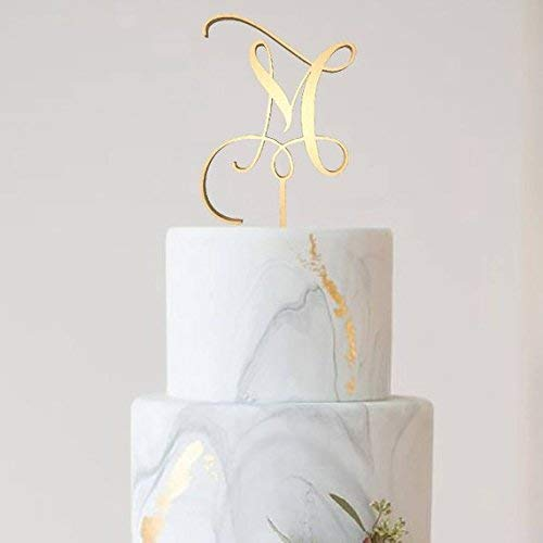 Letter M Monogram Cake Topper,Wedding Gold Cake Decoration Favors