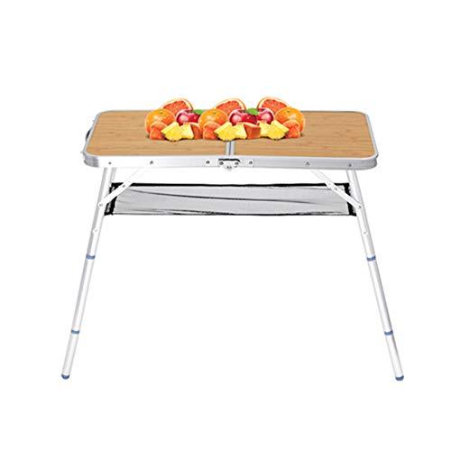 OTENGD Mesa Plegable para Acampar, Mesa Plegable portátil de Aluminio de Altura Ajustable y Liviana con Estante, para cocinar al Aire Libre, Comer