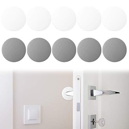SourceTon - Protector de pared de silicona para puerta (10 unidades, 1,57 pulgadas, para proteger paredes, puertas, puertas de nevera, armarios (blanco y gris)