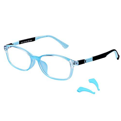 DUCO Superlight Flexible Blue Light Blocking Glasses for Kids Anti-Glare Gaming Computer Glasses Eyeglasses Frames for Boys and Girls Age 5-10 8915 (Blue Frame Blue Temple)