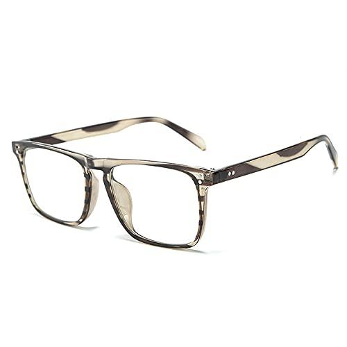 Fashion Square Femenina Gafas de Sol Retro Clavo Decorativo Dark Leopard Leopard Clare Lens Lente Marco UV400 Adecuado para Equitación, Playa-Leopardo Gris Claro