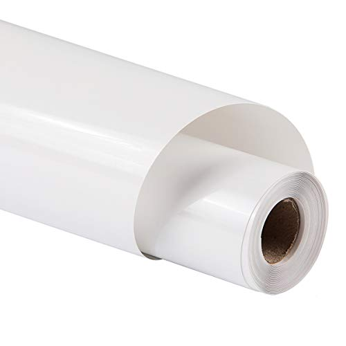 guangyintong Heat Transfer Vinyl for T-Shirts 12' x 8ft Roll Glossy (White K1)