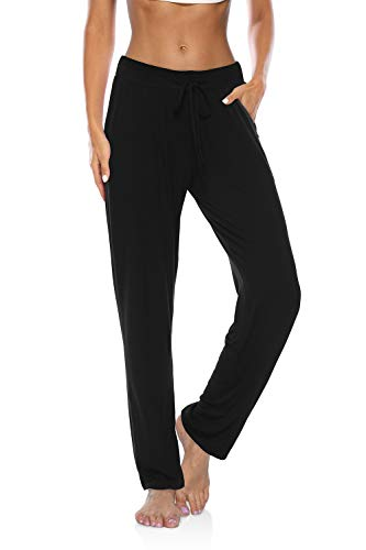 DIBAOLONG Womens Yoga Pants Wide Leg Loose Drawstring Comfy Lounge Workout Sweatpants with Pockets Black L