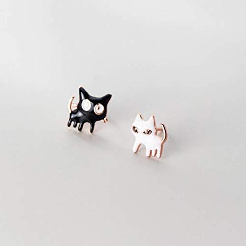 WOZUIMEI S925 Plata Personalidad de la Moda Coreana Divertidos Pendientes de Gato Blanco Y Negro Pendientes de Animales Lindosoro rosa