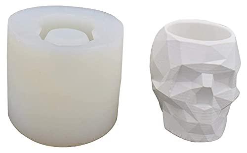Moderna Resina Cráneo en Forma de Cabeza Diseño de Cabeza Pote de Flores Molde plantador Geométrico Cráneo Concreto Pluma Tenedor de Resina Moldes de Resina, para Pascua