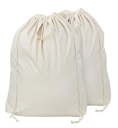 AMX 2 bolsas de lona de algodón 100% natural, con asas de transporte y cierre de cordón, lavables a máquina para cesta de ropa o cestas