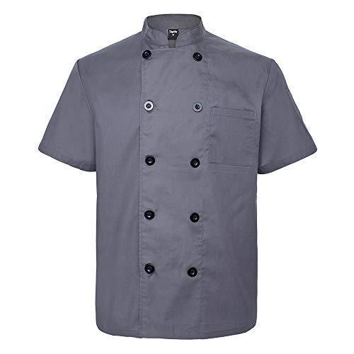Top Tie Giacca Cuoco Professionale, Divisa Cuoco con Tasche, Giacche da Chef, Manica Corta, Unisex - Grigio Scuro-XXL