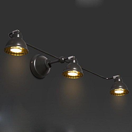 Moderne Simple Style Cozy Mur Lumière Couloir Salle De Bains Escaliers Craie Chambre Chambre Fer Abat-Jour Mur Lampe Angle Réglable Lampe Murale 3-Flamme 15W LED (Ampoule Blanc Chaud)