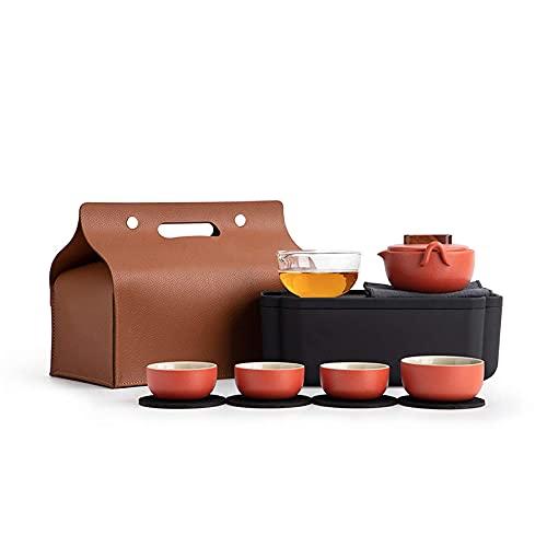 BaiJaC Tetera Estilo japonés, Juego de té de Viaje portátil con Caja de Almacenamiento y Bolso de té Servicio de té de Porcelana roja China 1 Tetera, 4 Tazas de té y 1 Glass gongdao Taza de té