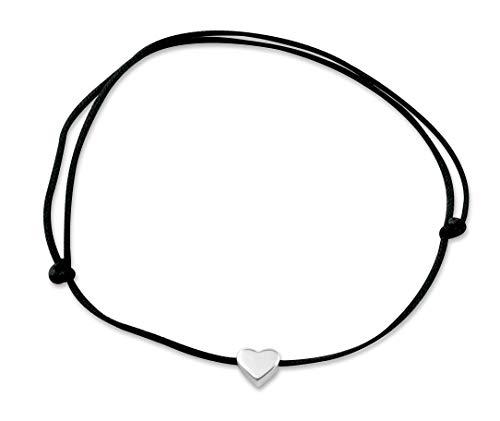 Nuoli® Herz Fußkettchen Silber (deutsche Handarbeit) Fußkette mit schwarzem Textil Band für Frauen