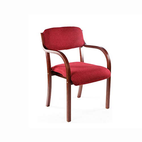 PLL Stoel, eetkamerstoel, eenvoudige losse bureaustoel, armleuningstoel, computerstoel, creatieve houten stoel, rood kussen