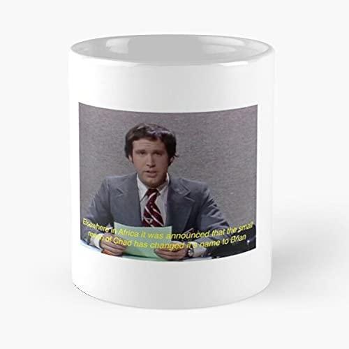 Weekend Update with Chevy Chase - Taza de café de cerámica blanca de color blanco