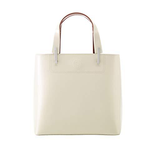 LAMARTHE PARIS - Elegante Echtleder Damen Handtasche, Designer Henkeltasche aus Glattleder für Frauen, mit zusätzlichem Trageriemen, inkl. Staubbeutel, weiß