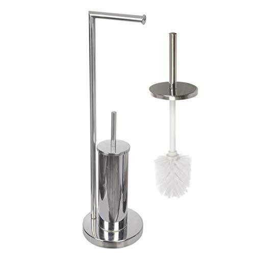 Acan Soporte Papel higienico y escobillero,Escobillero y portarrollos con Estructura en Acero Inoxidable 70 X 19 cm.