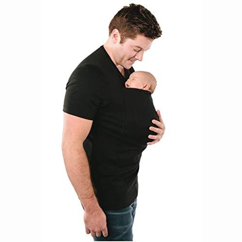 Pavilion Babytrage Kleidung Känguru T-Shirt Mit Großer Taschen-Multi-Funktions-T-Shirt for Vater Mutter Mit Baby Kurzarm (Color : Black, Size : XXXL)
