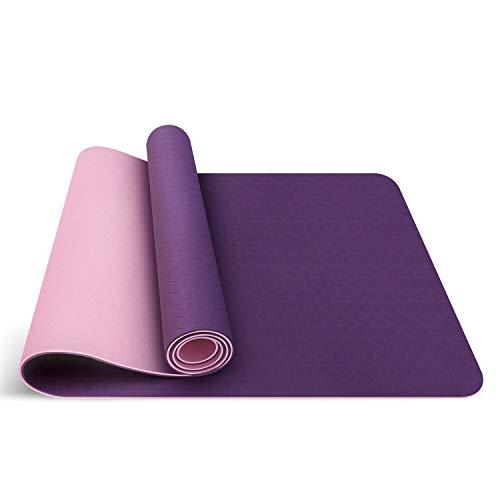 Oudort Yogamatte Gymnastikmatte rutschfeste Hochwertige TPE, ECO Yogamatte, Fitnessmatte mit Tragegurt für Yoga, Pilates, Fitness, 183 x 61 x 0,6cm