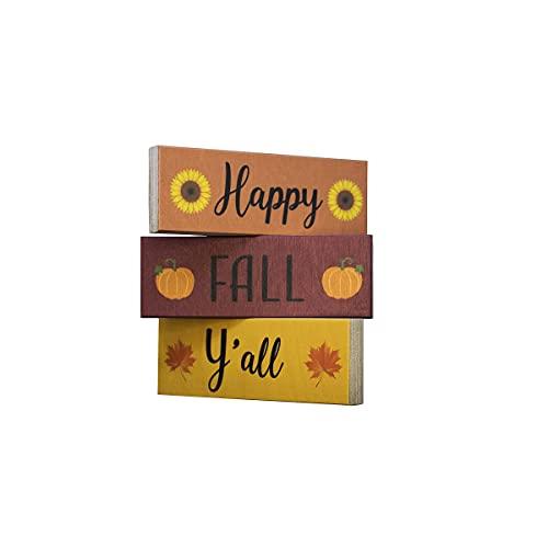 JennyGems Happy Fall Y'all Wooden Sign Blocks, Wooden Block Set, Shelf Sitters, Fall Decor, Fall Tiered Tray Decor, Fall…