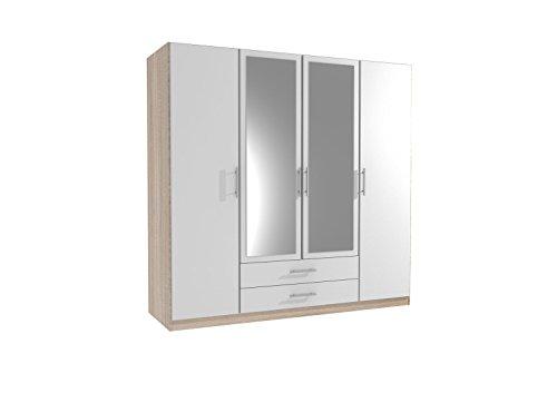 Germanica™ SPEYER Bedroom Furniture 4 Door Wardrobe in LIGHT OAK & WHITE Colour MADE IN GERMANY